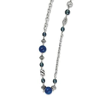 Silver-tone Fancy Lobster Closure Blue Bead and Crystal 44inch Necklace
