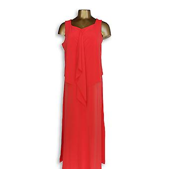Susan Graver Petite Dress MP Liquid Knit Tiered Maxi True Red A306533