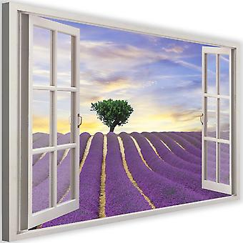 Canvas, Picture on canvas, window, lavender field