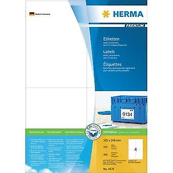Herma 4676 Labels (A4) 105 x 148 mm Paper White 400 pc(s) Permanent All-purpose labels, Franking labels Inkjet, Laser, C