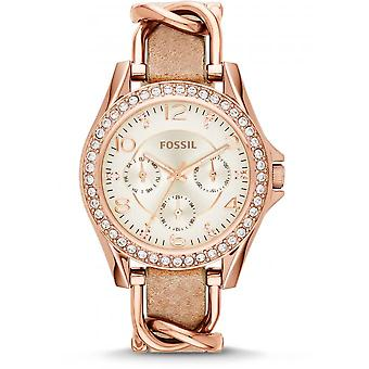 Fossil ES3466 watch - Watch leather gold pink woman