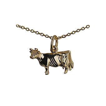 9ct Gold 11x16mm Cow Pendant with a cable Chain 20 inches