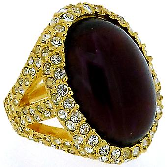 Kenneth Jay Lane Gold & Ruby Red Opal Stone Oval Ring