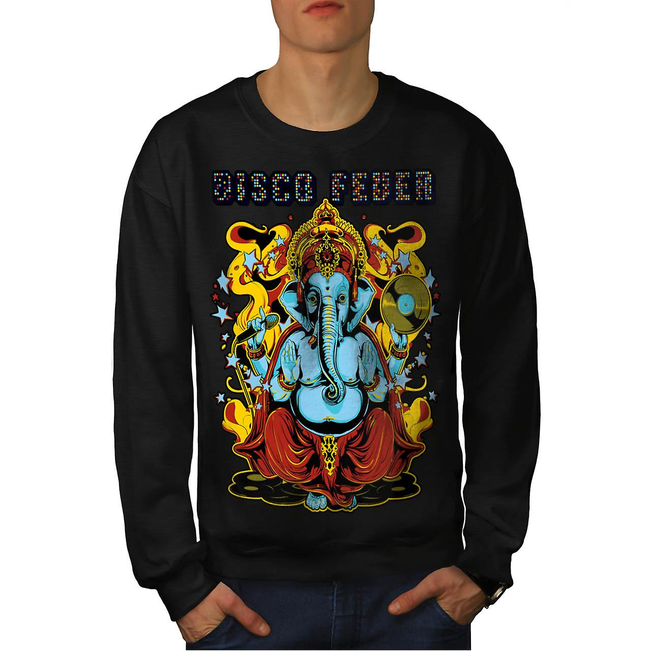 Disco Fever Elephant Men Black Sweatshirt | Wellcoda