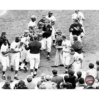 The New York Mets celebrate following a JC Martin pinch-hit bunt in the 10th inning that helped the Mets win game 4 of the 1969 World Series at Shea Stadium October 15 1969 Photo Print