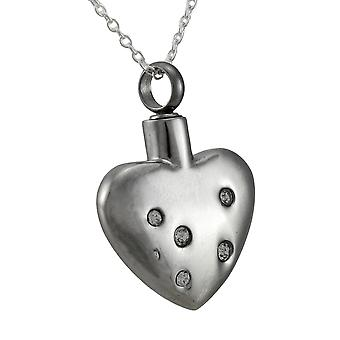Stainless Steel Passion Heart Love Vial Keepsake Necklace