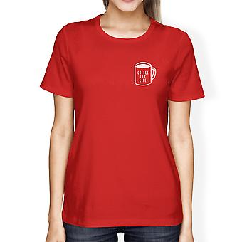 Coffee For Life Pocket Lady's Red T-shirt Funny Typographic Tee