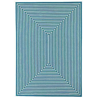 Moderne blå geometriske stue tæppe - Floorit