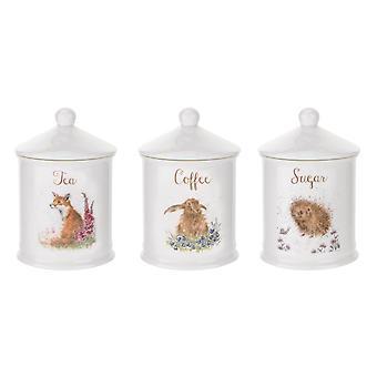 Royal Worcester Wrendale Designs Tea Coffee & Sugar Canisters