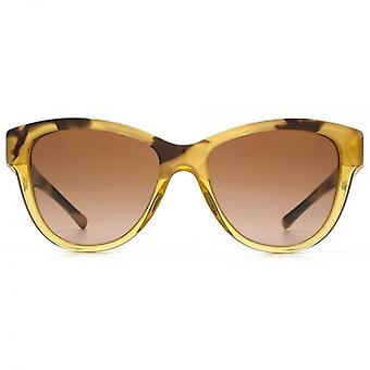 Burberry Two Tone Cateye Sunglasses In Light Horn To Yellow