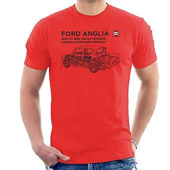 Haynes Workshop manuell 0001 Ford Anglia svart menn t-skjorte