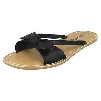 Ladies Leather Collection Flat Twist Bow Mule Sandals F00071