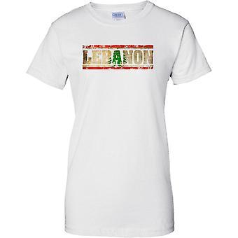 Efecto bandera de Líbano Grunge país nombre - señoras T Shirt