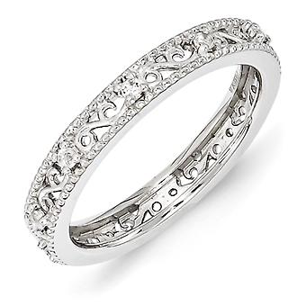3mm Sterling Silver Stackable Expressions White Topaz Ring - Ring Size: 5 to 10