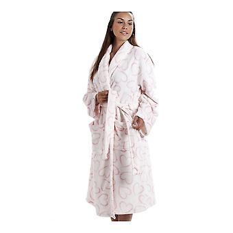 Camille White Supersoft Velours Fleece rosa Herz Print Schal Kragen Bademantel
