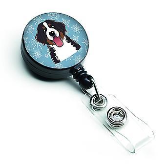 Snowflake Bernese Mountain Dog Retractable Badge Reel