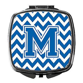 Carolines Treasures  CJ1056-MSCM Letter M Chevron Blue and White Compact Mirror