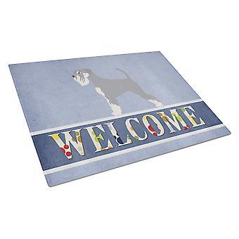 Carolines Treasures  BB8350LCB Schnauzer Welcome Glass Cutting Board Large