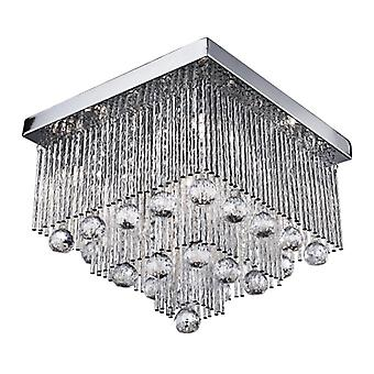 Beatrix Chrome And Crystal Five Light Square Flush Fitting - Searchlight 6055-5cc