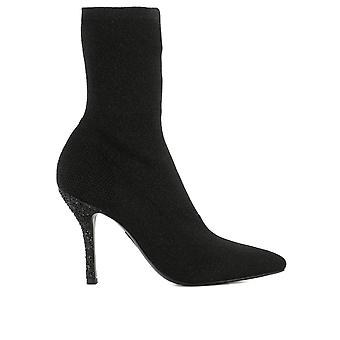 Strategia ladies A3766KIM black fabric ankle boots