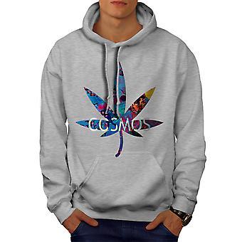 Cosmos Weed Leaf Rasta Men GreyHoodie | Wellcoda