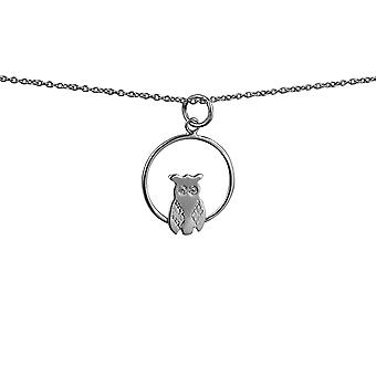 Silver 18x19mm Owl in a circle Pendant with rolo Chain 24 inches