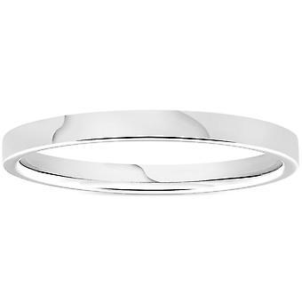 950 Platin 2mm flache Comfort Fit Ehering Ring