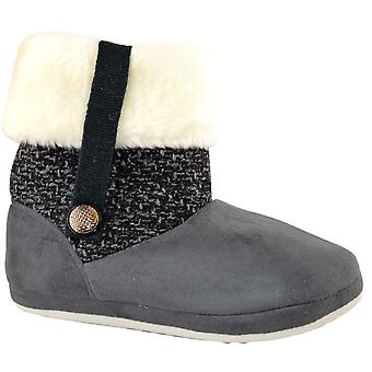 Ladies Womens Coolers Fur Lined Ankle Boots Slip On Bootee Slippers Shoes