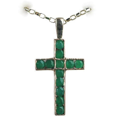 9ct Gold 25x16mm Apostle's Cross set with 12 Green Agate with a belcher Chain 16 inches Only Suitable for Children