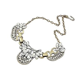 Womens Large Fashion Crystal Charm Statement Bib Necklace Silver