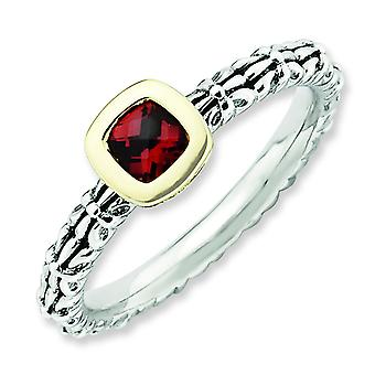 2.5mm Sterling Silver Bezel Antique finish and 14k Stackable Expressions Checker-cut Garnet Antiqued Rin - 10 Inch