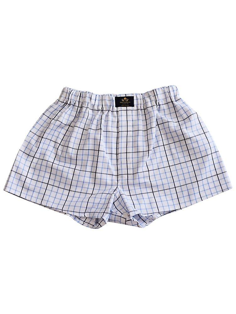 Chequered Cotton Boxers – Blue & Black