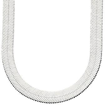 Iced out bling HERRING BONE hip hop chain - 10 mm silver