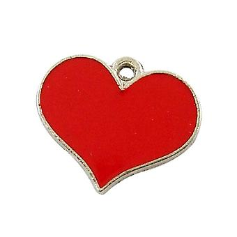 Packet 10 x Red Enamel & Alloy 16mm Heart Charm/Pendant HA08365