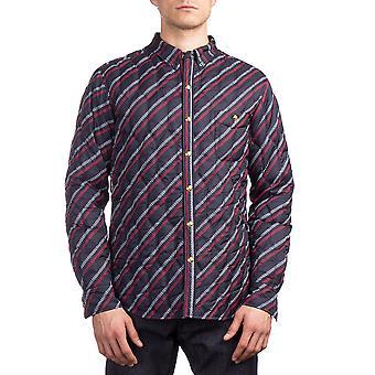 Moncler mænds Polyester ternet stribe ned jakke Navy blå