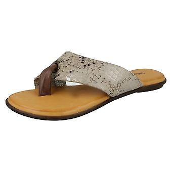 Ladies Leather Collection Toepost Sandals F00128 - Brown Leather - UK Size 3 - EU Size 36 - US Size 5