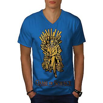 Spiel der Wissenschaft Männer Royal BlueV-Neck T-shirt   Wellcoda