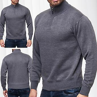 Men's pullover sweater Cardigan zip long sleeve knit shirt