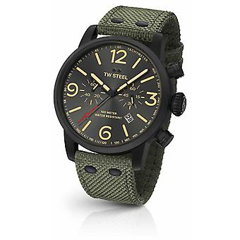 TW Steel Maverick Caliber Chronograph Green Canvas Strap black Dial MS124 Watch
