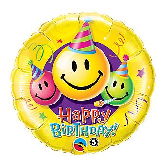 Qualatex Happy Birthday Smiley Faces Foil Balloon 18in
