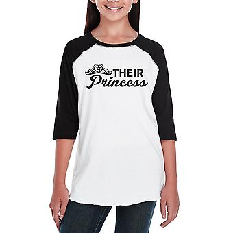 Their Princess Youth Baseball Shirt Tee Cute Raglan Shirt For Girls