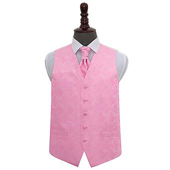 Baby Pink Paisley Wedding Waistcoat & Cravat Set