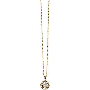 Elements Gold Exquisite 9ct Gold Diamond Swirl Pendant - Clear/Gold