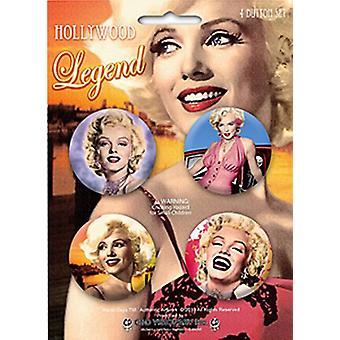 Marilyn Monroe 4 Round Pin Badges In Pack