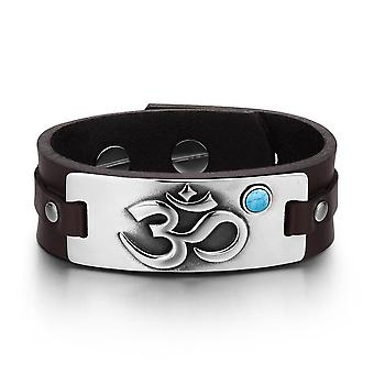 OM Ancient Tibetan Amulet Magic Powers Tag Simulated Turquoise Dark Brown Leather Bracelet