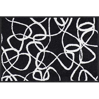 Salon Leeuw deurmat inkt lijnen zwart witte wasbaar vuil mat Welkom