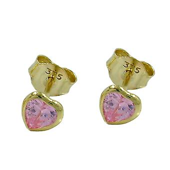 Earring ear plug heart cubic zirconia heart pink 9 KT 375 gold earrings gold