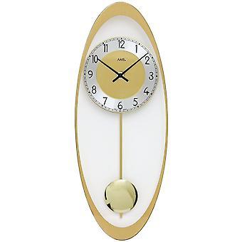 Wall clock wall clock quartz with pendulum brass colors printed mineral glass