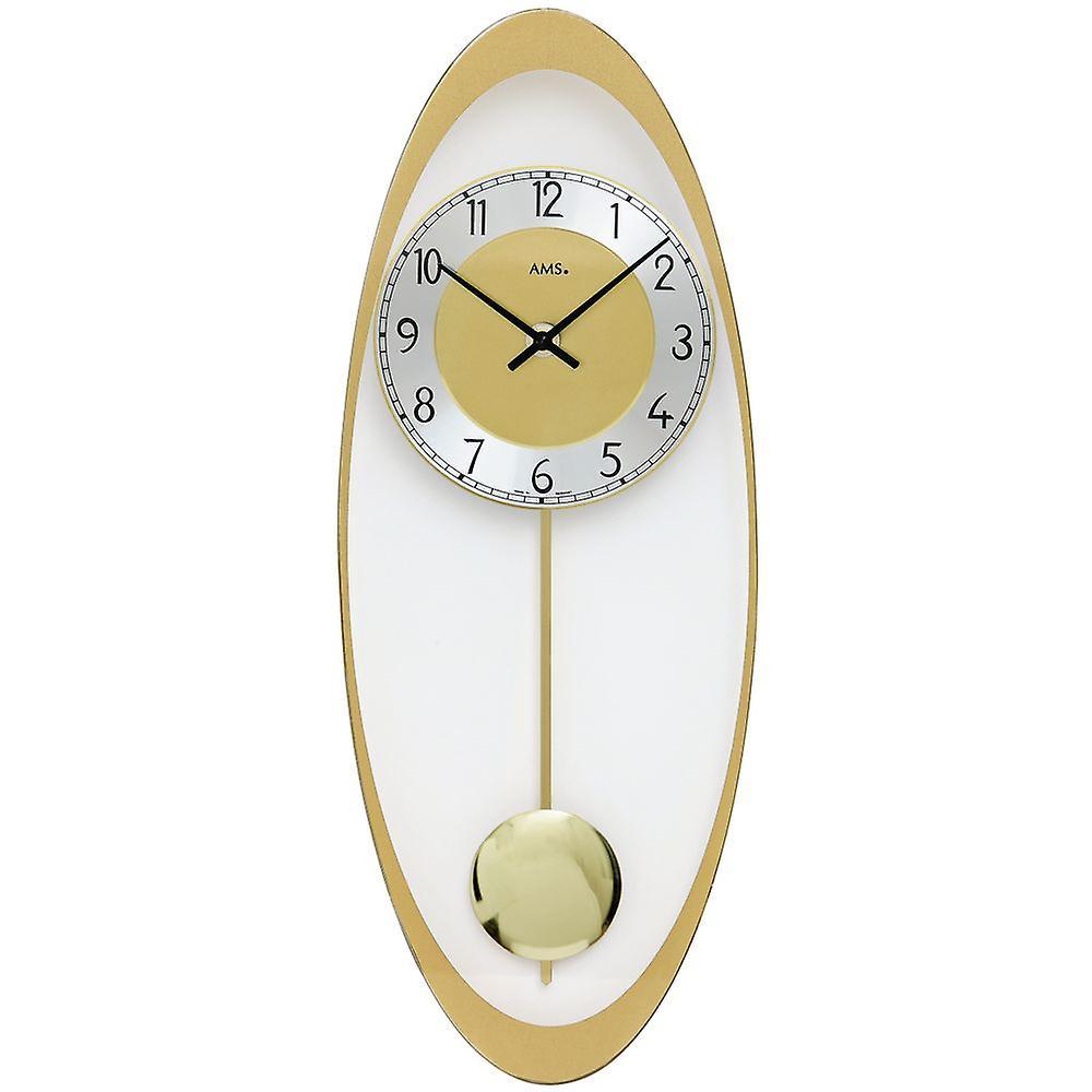 Quartz d& 039;horloge de mur mur horloge avec pendule en laiton de couleurs imprimées verre minéral