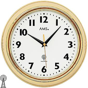 Wall clock radio radio controlled wall clock analog brass color golden round with glass